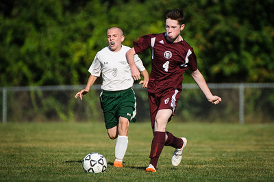 Varsity soccer between Monadnock (white) and Derryfield (maroon) held on September 4, 2018 at the The Derryfield School in Manchester, NH.