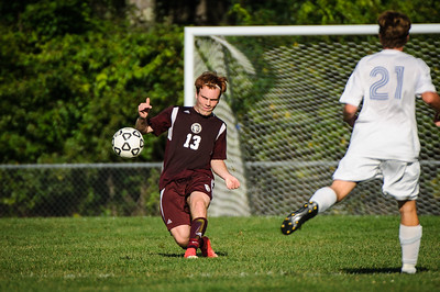 Varsity soccer between Gilford (white) and Derryfield (maroon) held on September 14, 2018 at the The Derryfield School in Manchester, NH.