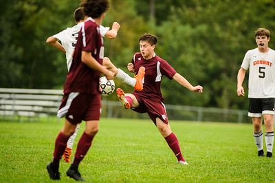 Varsity soccer between Conant (white) and Derryfield (maroon) held on September 19, 2018 at the The Derryfield School in Manchester, NH.