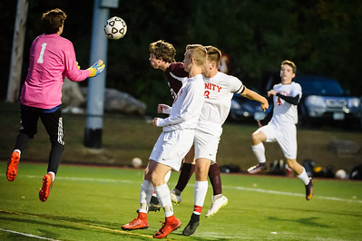 Varsity soccer between Trinity (white) and Derryfield (maroon) held on October 12, 2018 at the The Derryfield School in Manchester, NH.