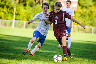 Varsity soccer between Somersworth (white) and Derryfield (maroon) held on October 5, 2018 at the The Derryfield School in Manchester, NH.