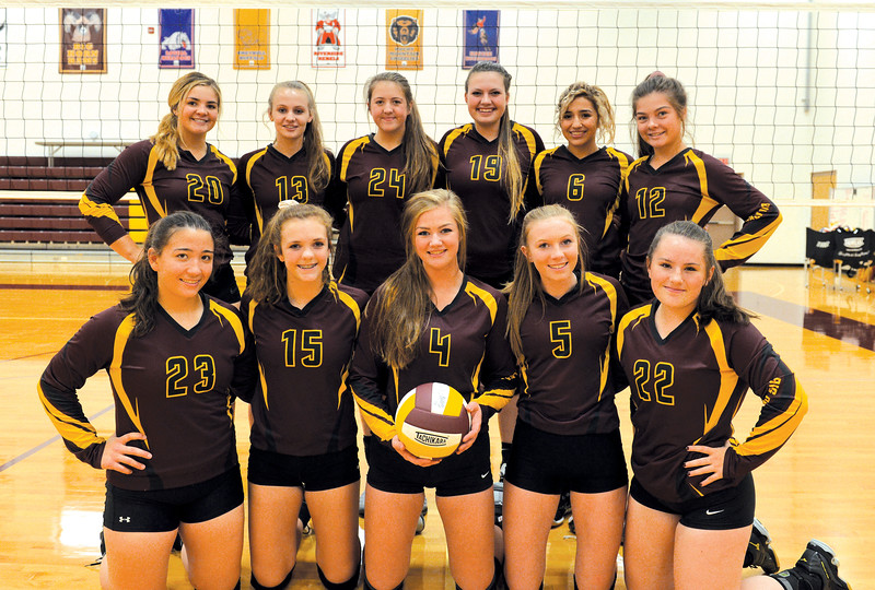 Ashleigh Fox | The Sheridan Press<br /> The Big Horn High School volleyball team includes, front row, from left, Mary Nicholson, Courtney Wallach, Carley Motsick, Jordan Frank and Anna Melin; back row from left, Shyan Davidson, Sydney Schmidt, Amelia Gee, Taylor Meineke, Jenny Trabert and CheyAnn Price.