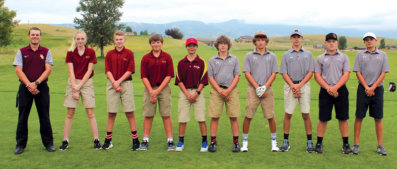Ryan Patterson | The Sheridan Press<br /> The Big Horn High School golf team includes, from left, head coach Lamont Clabaugh, Katie Carter, Garrett Baker, Cody Baker, Garrett Schueber, Bode Neeson, Garrett Custis, Dalton Nelson, Matt Melin and Hayden Tellez.