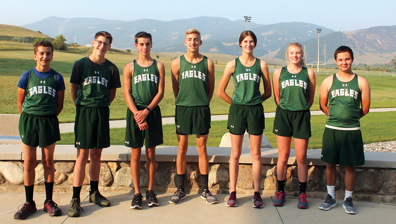 Ryan Patterson | The Sheridan Press<br /> The Tongue River High School cross country team includes, from left, Weston Beadle, Carsen McArthur, Jason Barron, Jett Walker, Macey McArthur, Kalie Bocek and Ty Doke. Not pictured are Michael Perry and Cooper Vollmer.