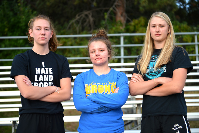 Bud Denega | The Sheridan Press<br /> Jadyn Mullkin, left, Taylor Baldacci, center, and Piper Carroll are the three seniors on the Sheridan High School girls swim team this season.