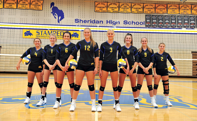 Bud Denega | The Sheridan Press<br /> The Sheridan High School volleyball team includes, from left, Taylor Lee, Taylor Larsen, Madyson Godwin, Jordan Christensen, Katie Ligocki, Abby Sanders, Olivia Sweeny, Talia Steel.