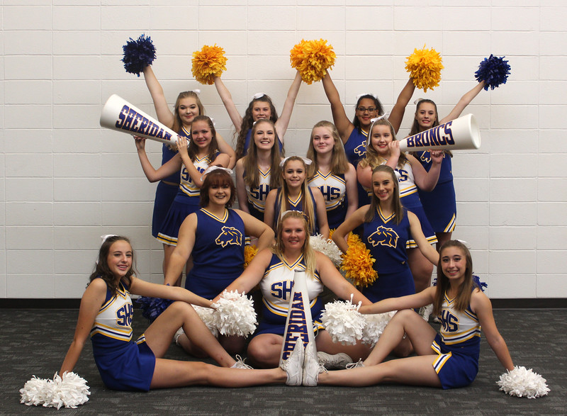 Bud Denega | The Sheridan Press<br /> The Sheridan High School cheer team includes, front row, from left, Payton Rott, Abigail James, Kim Solti; second row, from left, Serena Laird, Karlee Larson, Audrey Turner; third row, from left, Jessie Jobuich, Emma Burton, Nevaeh Vaughn, Julia Smart; and top row, from left, Emilou Justice, Summer Schumacher, Adrianne Welther, Halie Reagan.