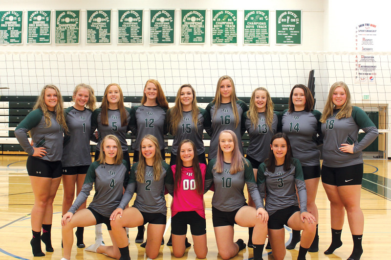 Ryan Patterson | The Sheridan Press<br /> The Tongue River High School volleyball team includes, front row, from left, Jane Pendergast, Maya Fritz, Katy Kalasinsky, Hanna Hill and Izabella Carbert; back row, from left, Emma Scammon, Carleigh Reish, Emma Schroder, Seeara Wojctzak, Morgan Warren, Sydnee Pitman, Sydney Butler, Bailey Dodge and Kadie Brown.