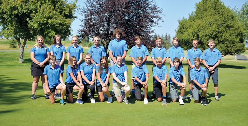 Bud Denega | The Sheridan Press<br /> The Sheridan High School golf team includes, front row, from left, Izzy Laird, Katie Jorgenson, Aspen Boulter, Hanna Detmer, Emma Katschke, Sean Sanders, Kaden Bateson, Matt Hooge, Alex Sanders; and top row, from left, Abby James, Jada Manning, Libby Gardner, Ethan Willey, Sam Lecholat, Seth Deutscher, Nolan Billings, Ben Patten, Chance Ulin, Brayden James.