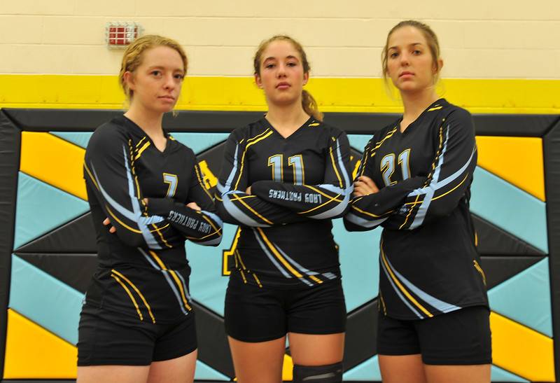 Bud Denaga | The Sheridan Press<br /> Kristin Klaahsen, left, Ashlynn Fennema, center, and McKenna Auzqui will lead the Arvada-Clearmont captains this season.