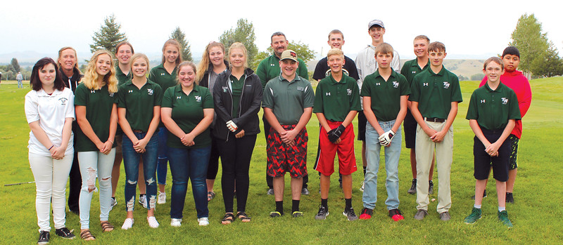 Ryan Patterson | The Sheridan Press<br /> The Tongue River golf teams include, front row, from left, Ivy Dearcorn, Taylor Mudd, Grace Sopko, Mackenzie Aksamit, Sadie Koltiska, Cole Gilbert, Camden Kilbride, Payton Bastrom, Kade McMeans and Finn Kerns; back row from left, assistant coach Rachel Schroder, Hailey Stutzman, Holly Hutchinson, Madi Miller, head coach Robert Griffin, Nick Summers, Justice Rees, Jake Massar and Daien Bear Dont Walk.