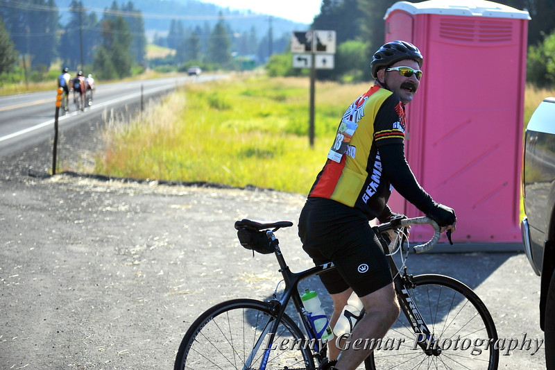 Rider #4 seemed to need a break in the pink port-a-potty.