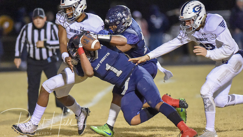 East Forsyth's Ahmani Marshall (1) dives for the goal line at Fred E. Lewis Stadium in Kernersville, North Carolina on Friday, November 30, 2018. (Photo by Robert Hill)