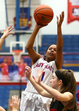 1-16-18<br /> Kokomo vs Logansport girls basketball<br /> Tionna Brown puts up a shot.<br /> Kelly Lafferty Gerber | Kokomo Tribune