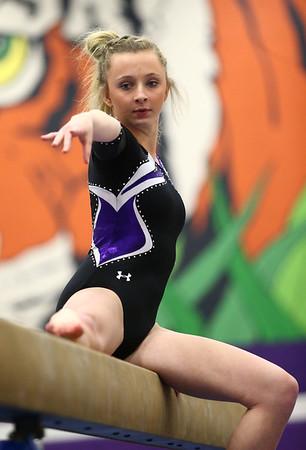 1-20-18<br /> Northwestern-Western gymnastics<br /> NW's Ashtyn Gross on the beam.<br /> Kelly Lafferty Gerber | Kokomo Tribune