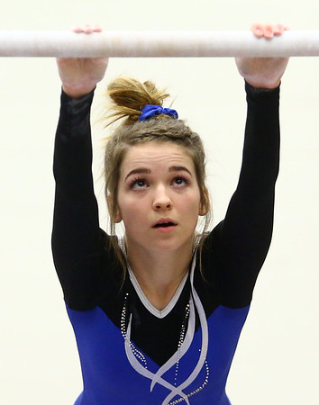 1-20-18<br /> Northwestern-Western gymnastics<br /> Western's Sophie Norfleet on the bars.<br /> Kelly Lafferty Gerber | Kokomo Tribune