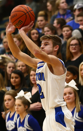 1-5-18<br /> Tipton vs Yorktown boys basketball<br /> Tipton's Alec Weddell shoots a three-pointer.<br /> Kelly Lafferty Gerber | Kokomo Tribune