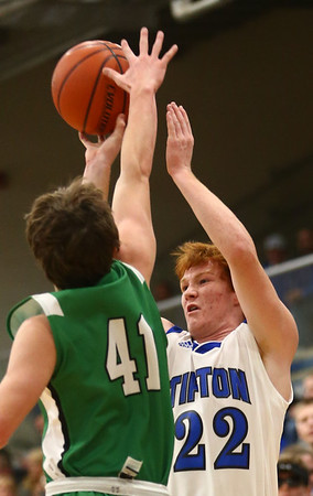 1-5-18<br /> Tipton vs Yorktown boys basketball<br /> Tipton's Luke Stoker shoots.<br /> Kelly Lafferty Gerber | Kokomo Tribune