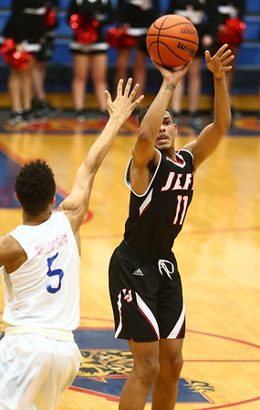 1-26-18<br /> Kokomo vs Lafayette Jeff boys basketball<br /> Lafayette Jeff's Alex Cotton puts up a shot.<br /> Kelly Lafferty Gerber | Kokomo Tribune