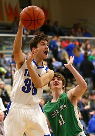 1-5-18<br /> Tipton vs Yorktown boys basketball<br /> Tipton's Trent Seward makes a pass.<br /> Kelly Lafferty Gerber | Kokomo Tribune