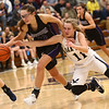 1-10-18<br /> Northwestern vs Oak Hill girls basketball<br /> Madison Layden steals the ball from Oak Hill's Kristin Dubois as Dubois gets called for holding.<br /> Kelly Lafferty Gerber | Kokomo Tribune