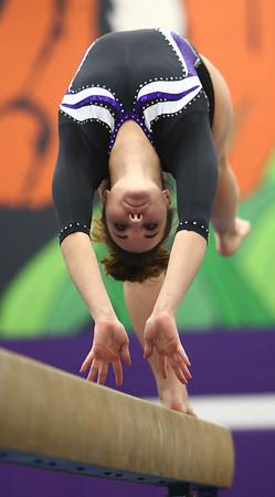 1-20-18<br /> Northwestern-Western gymnastics<br /> NW's Catelyn Wilson on the beam.<br /> Kelly Lafferty Gerber | Kokomo Tribune