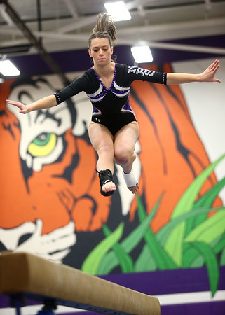 1-20-18<br /> Northwestern-Western gymnastics<br /> NW's Rachel Mast on the beam.<br /> Kelly Lafferty Gerber | Kokomo Tribune