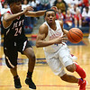 1-26-18<br /> Kokomo vs Lafayette Jeff boys basketball<br /> Trajan Deckard dribbles down the court.<br /> Kelly Lafferty Gerber | Kokomo Tribune