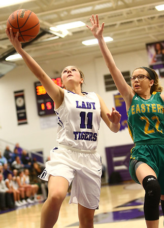 1-2-18<br /> Northwestern vs Eastern girls basketball<br /> NW's Katie Neher goes to the basket.<br /> Kelly Lafferty Gerber | Kokomo Tribune
