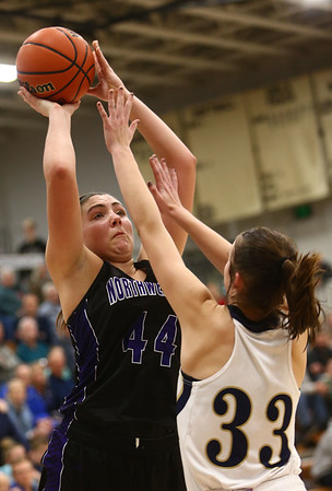 1-10-18<br /> Northwestern vs Oak Hill girls basketball<br /> NW's Kendall Bostic shoots.<br /> Kelly Lafferty Gerber | Kokomo Tribune