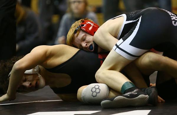 1-13-18<br /> Western wrestling<br /> Western's Aiden Belt and Renssalaer's Charlie McCafferty in the 113.<br /> Kelly Lafferty Gerber | Kokomo Tribune