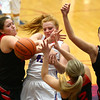 1-16-18<br /> Kokomo vs Logansport girls basketball<br /> Madison Wood grapples with Logansport defenders for a rebound.<br /> Kelly Lafferty Gerber | Kokomo Tribune