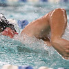 1-11-18<br /> Kokomo swimming<br /> Cortlandt Kalkstein in the boys 200 medley relay.<br /> Kelly Lafferty Gerber | Kokomo Tribune
