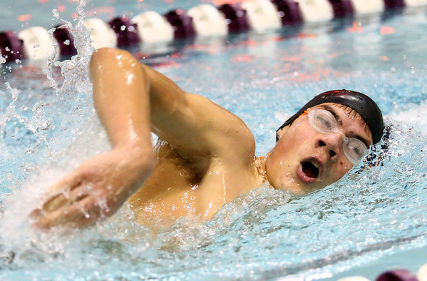 1-9-18<br /> Northwestern vs Eastern swimming<br /> NW's Mason Harrell in the boys 200 freestyle.<br /> Kelly Lafferty Gerber | Kokomo Tribune