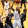 1-26-18<br /> Kokomo vs Lafayette Jeff boys basketball<br /> Kokomo's Trajan Deckard shoots.<br /> Kelly Lafferty Gerber | Kokomo Tribune
