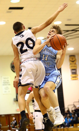 1-19-18<br /> Western vs Maconaquah boys basketball<br /> Mac's Cody Koebler heads to the basket.<br /> Kelly Lafferty Gerber | Kokomo Tribune