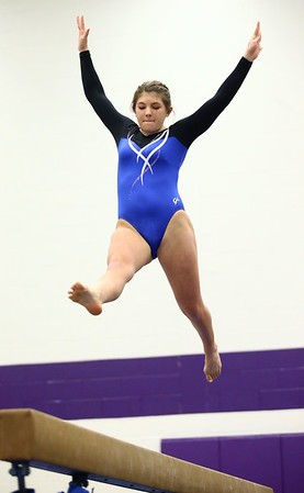 1-20-18<br /> Northwestern-Western gymnastics<br /> Western's Grace Meissnest on the beam.<br /> Kelly Lafferty Gerber | Kokomo Tribune