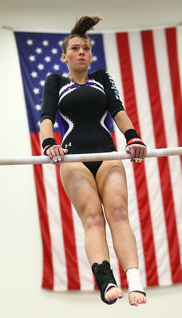 1-20-18<br /> Northwestern-Western gymnastics<br /> NW's Rachel Mast on the bars.<br /> Kelly Lafferty Gerber | Kokomo Tribune