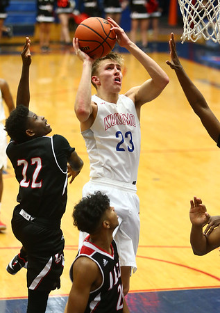 1-26-18<br /> Kokomo vs Lafayette Jeff boys basketball<br /> Anthony Barnard puts up a shot.<br /> Kelly Lafferty Gerber | Kokomo Tribune