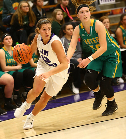 1-2-18<br /> Northwestern vs Eastern girls basketball<br /> NW's Sarah Vas dribbles to the basket.<br /> Kelly Lafferty Gerber | Kokomo Tribune