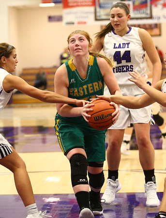 1-2-18<br /> Northwestern vs Eastern girls basketball<br /> Eastern's Hailey Holliday looks to the basket.<br /> Kelly Lafferty Gerber | Kokomo Tribune