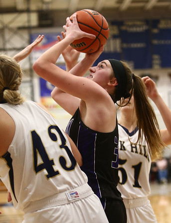 1-10-18<br /> Northwestern vs Oak Hill girls basketball<br /> Steph Burns puts up a shot.<br /> Kelly Lafferty Gerber | Kokomo Tribune