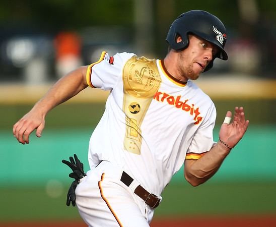7-14-18<br /> Jackrabbits vs Rex<br /> Colin Butkiewicz runs home.<br /> Kelly Lafferty Gerber | Kokomo Tribune