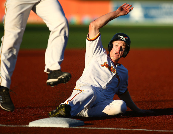 7-24-18<br /> Jackrabbits vs Aviators<br /> Ian Walters slides to third before an umpire error forced him to go back to second.<br /> Kelly Lafferty Gerber | Kokomo Tribune
