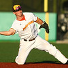 7-24-18<br /> Jackrabbits vs Aviators<br /> Jacob Buchberger tosses the ball to first for an out.<br /> Kelly Lafferty Gerber | Kokomo Tribune