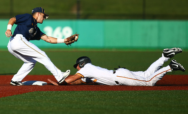 7-24-18<br /> Jackrabbits vs Aviators<br /> Dayson Croes is safe at second.<br /> Kelly Lafferty Gerber | Kokomo Tribune