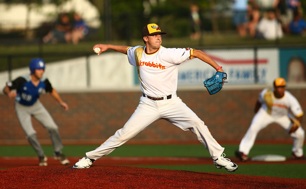 7-14-18<br /> Jackrabbits vs Rex<br /> Landon Kelly pitches.<br /> Kelly Lafferty Gerber | Kokomo Tribune
