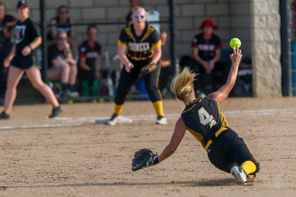 Pioneer junior Haley Gleitz scoops up the ball and makes the put out at first as the Lady Panthers captured the 2018 1A IHSAA Semi-State Championship in Frankfort Saturday evening  defeating the Frontier Falcons by a score of 6-3. Fran Ruchalski | Pharos-Tribune