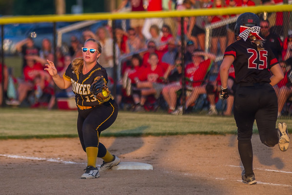 And as Pioneer Panthers senior Alyssa Shaw completes the out at first,  the 2018 1A IHSAASemi-State Championship game in Frankfort Saturday evening is over as the Lady Panthers defeated the Frontier Falcons by a score of 6-3. Fran Ruchalski | Pharos-Tribune