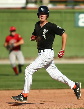 6-13-18<br /> Post Six baseball vs Napoleon<br /> Pat Mills heads to second.<br /> Kelly Lafferty Gerber | Kokomo Tribune